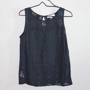 Ann Taylor Loft Black Lace Sleeveless Blouse